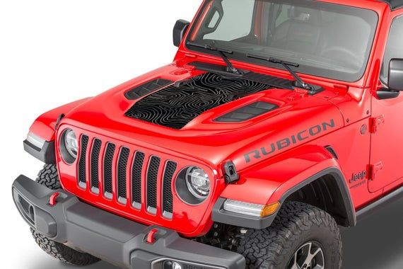 Hood Decal For Jeep Jl Jt Rubicon Style Hood Topographic Hood