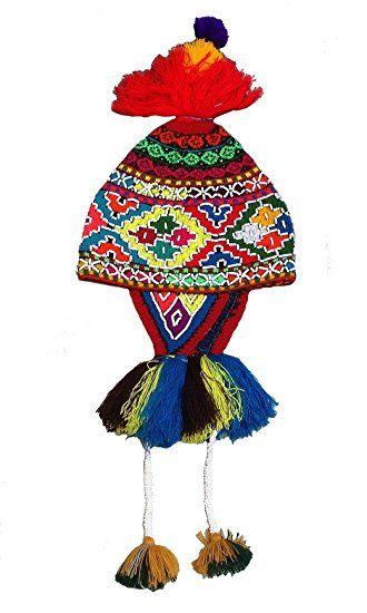 Handgestrickte mehrfarbige typische peruanische cusquena Damen Trachten #Chullo aufwendige Pailletten Strickweise Alpakawolle