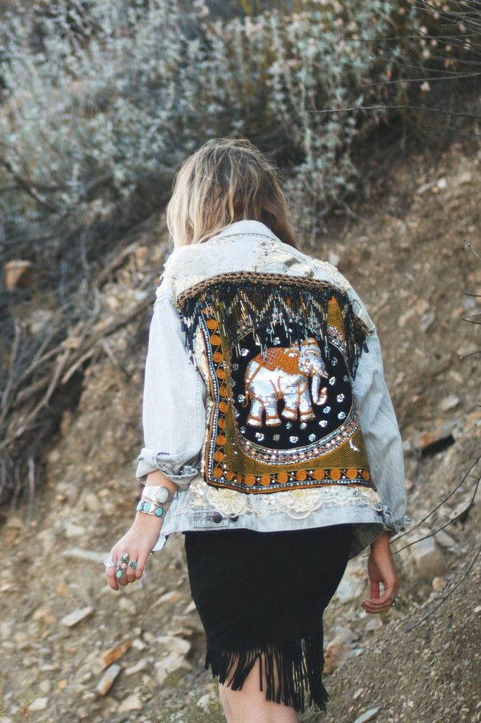 Wild & Free - Embellished Elephant Jacket in Black - Not sure on demin jacket but elephant detail cute although might be better on tote