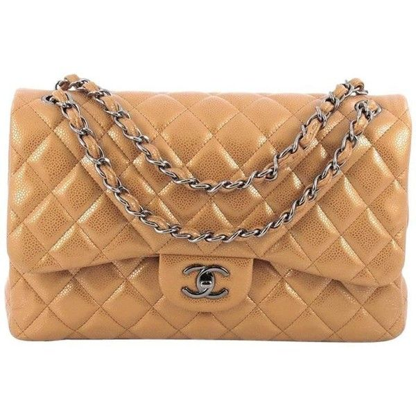 Preowned Chanel Classic Double Flap Bag Quilted Caviar Jumbo ($4,425) ❤ liked on Polyvore featuring bags, handbags, brown, top handle bags, woven leather purse, quilted leather handbags, top handle handbags, genuine leather handbags and leather purses