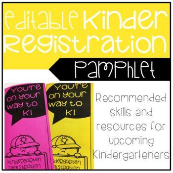 Kindergarten Registration Pamphlet - Editable option available and highlights Kinder readiness skills