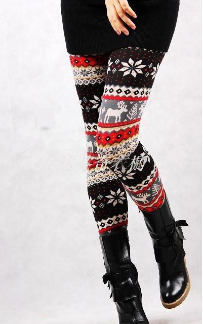 P-0281 Winter Nordic Prints Flannel Leggings - Red