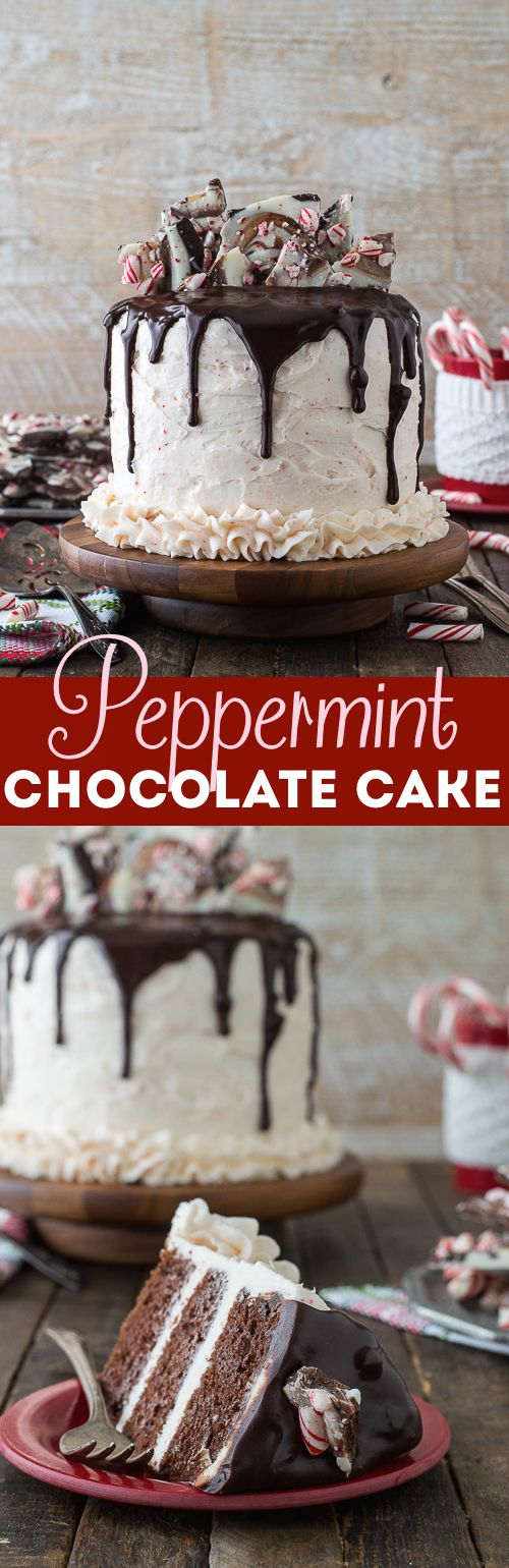 Peppermint chocolate cake recipe! Complete with chocolate cake, peppermint buttercream, chocolate ganache, and a peppermint bark topping!