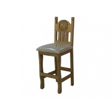Rustic Wooden Bar Stool W/Cushion U0026 Texas Star #chairs #chair #stool