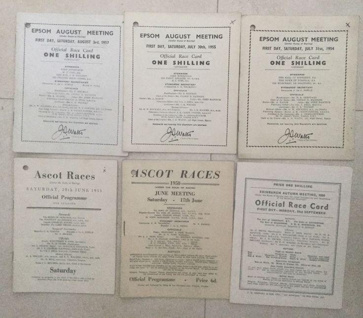 Horse Racing 6 X 1950'S Race Cards | eBay