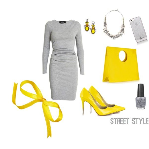 Yellow grey spring summer outfit