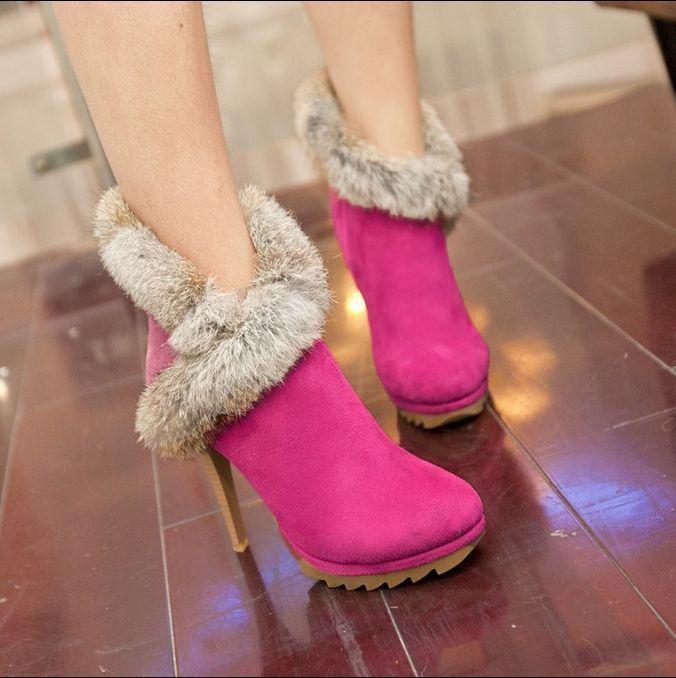 Womens Ankle Boots Faux Fur Stilettos Igh Heels Winter Warm Shoes Side Zip G511