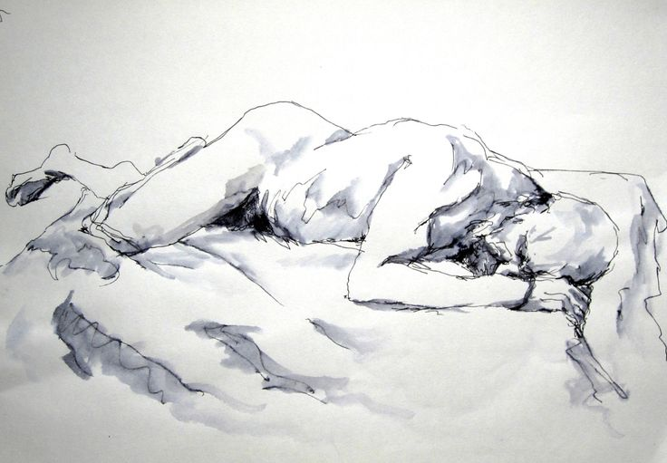 Restless Recline (November 2015) original ink artwork of nude male model life drawing by jonnagl on Etsy