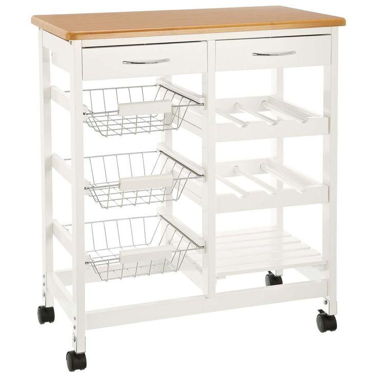 CULINATO® Desserte, chariot de service en bois, 76 x 67 x 37cm (sur roulettes avec plan de travail et tiroirs): Amazon.fr: Cuisine & Maison