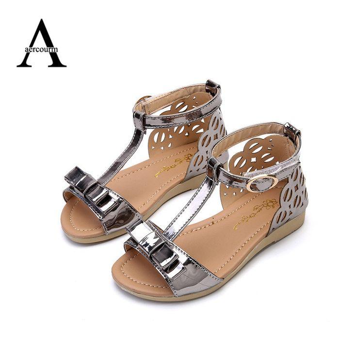 Aercourm Un 2017 Nuevo Verano Sandalias de Los Niños Niñas Zapatos Casuales Princesa Punta Abierta Sandalias de Cuero de LA PU Niñas Sandalias de Playa Planas