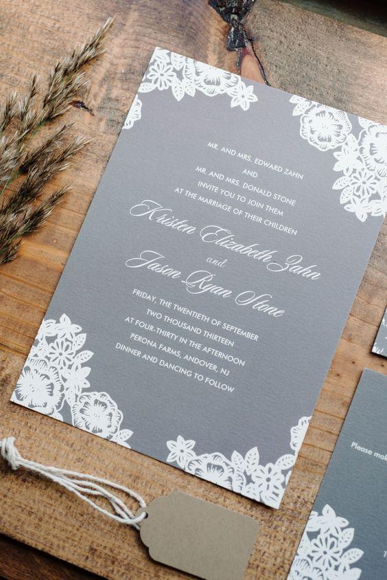 Grey and White Wedding Invitations / http://www.deerpearlflowers.com/grey-fall-wedding-ideas/