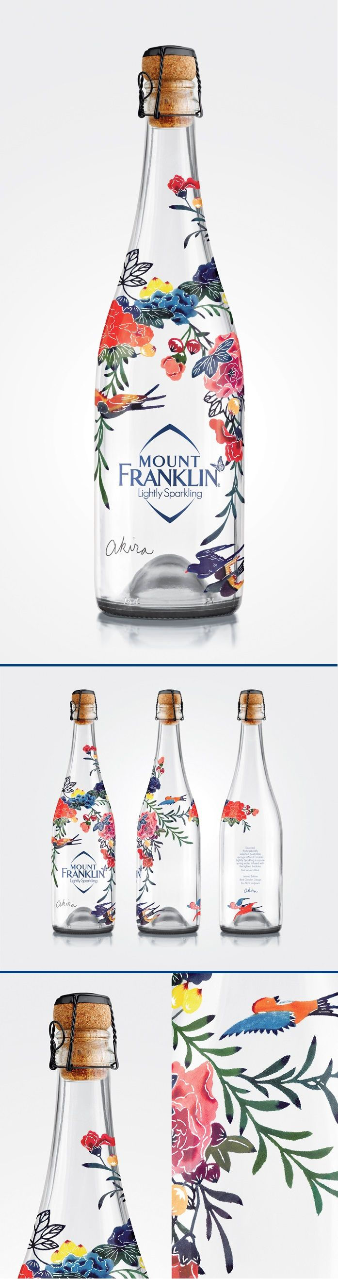 Mount Franklin Lightly Sparkling is a limited edition Bird Garden Design by Akira Isogawa