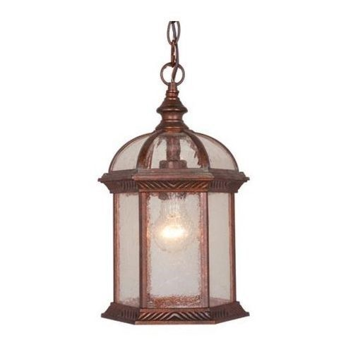 66 00 Vaxcel 1 Light Outdoor Pendant Lighting Fixture Royal Bronze Clear Seeded Glass Locusa