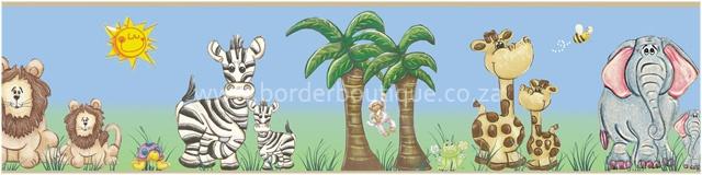 Wallpaper border - code 077 Jungle Safari Blue & Green