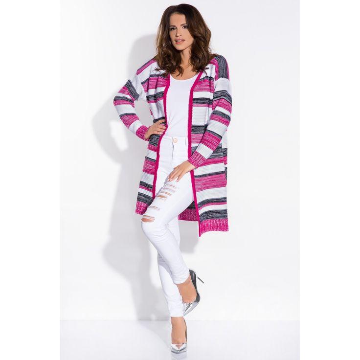Cardigan de dama confortabil în dungi multicolore amaranth  #cardiganedama #cardigan #cardigantricotat #cardigane