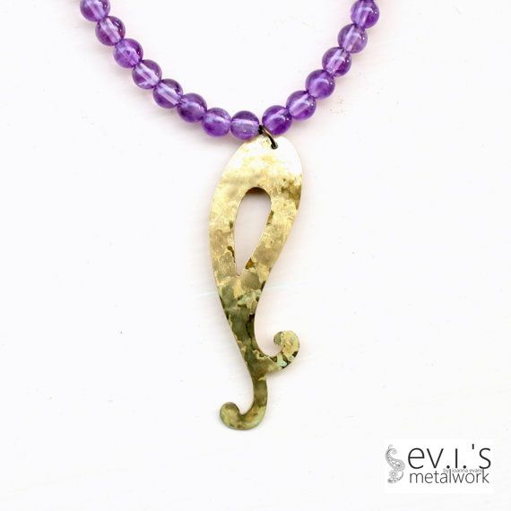 Amethyst Brass Paisley Pendant Abstract Metalwork by evismetalwork, €19.00