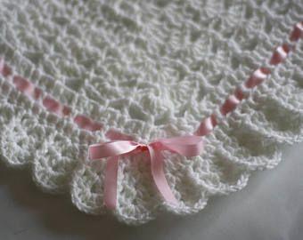 Crochet Baby Blanket / Afghan White Christening Baptism Baby