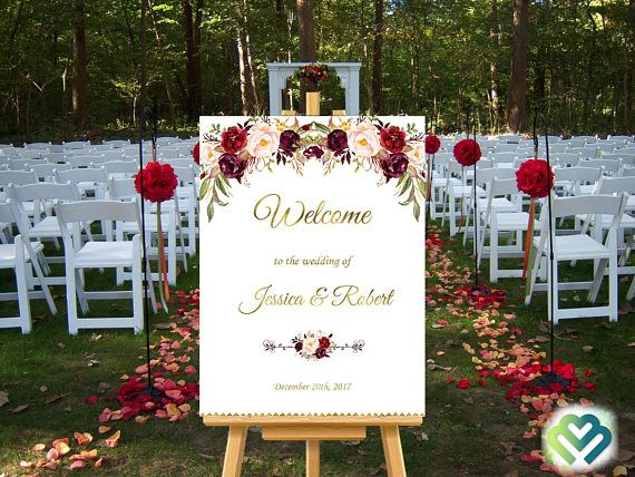 Check out this item in my Etsy shop https://www.etsy.com/listing/545353088/marsala-burgundy-wedding-welcome-sign