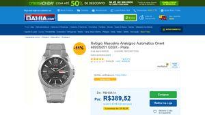 [Casas Bahia] Relógio Masculino Analógico Automático Orient 469SS051 G3SX - Prata Prata - de R$ 411,37 por R$ 389,52 (5% de desconto)