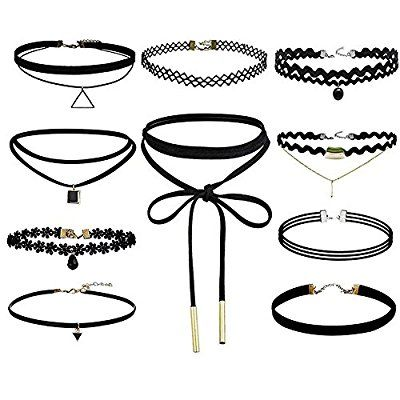 Beamore 10 Stk Hoker Halsketten Set Velvet Halskette Tattoo Halsband, Schwarz