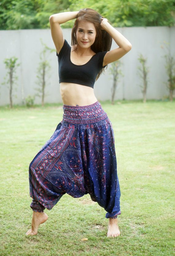 Violet SAROUEL PANTALON thaï, pantalons rayonne, Boho Strenchy pantalon, élastique taille vêtements plage femmes Baggy occasionnels BP25009