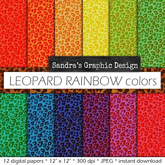 Digital Paper Pack LEOPARD Print RAINBOW COLORS With Leopard Prints Backgrounds In Bright