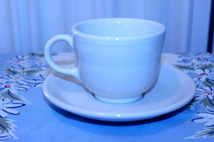 Fiesta p86 white Contemporary Teacup and Saucer Set  #Fiesta