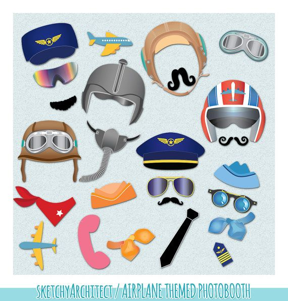 Airplane Photo Booth Props Clipart by SketchyArchitect #photobooth #props #diyparty