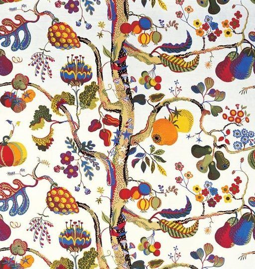 High  Low: Finding the Look of Josef Frank Fabric for Less  Fabric ideas for the cornice above the kitchen window.  Love the cheaper alts.