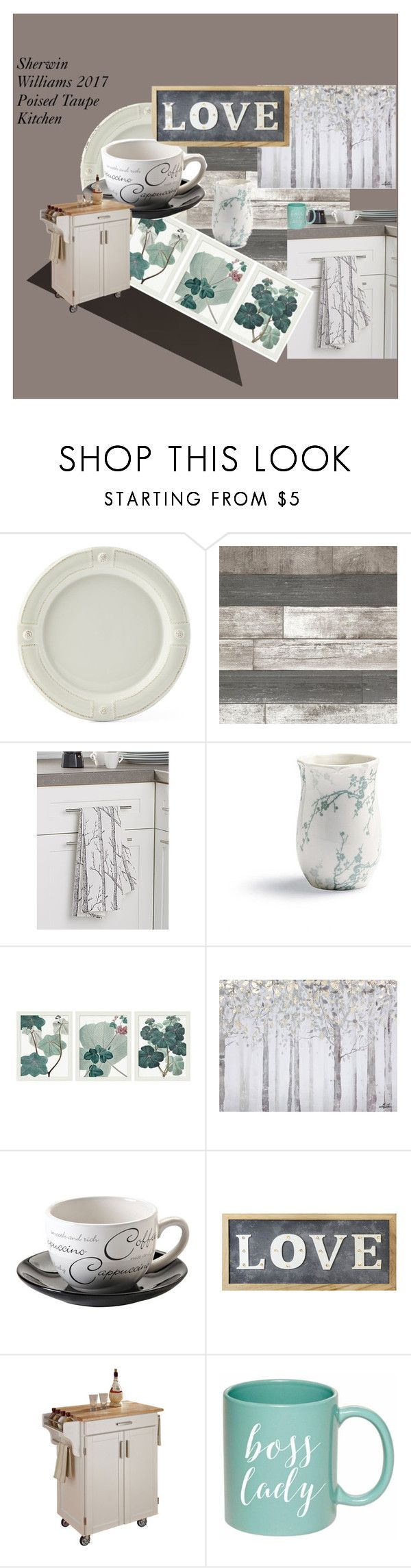 """""""Sherwin Williams Poised Taupe Kitchen"""" by jackie-o-ver-fifty on Polyvore featuring interior, interiors, interior design, home, home decor, interior decorating, Juliska, Frontgate, Pottery Barn and Yosemite Home Décor"""