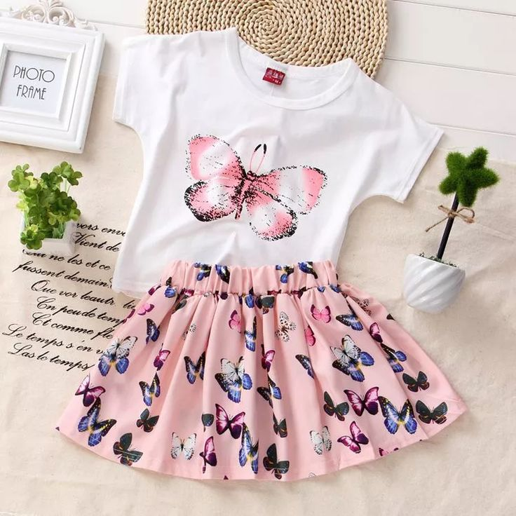 Summer Bat Cotton Fashion Butterfly T Shirts Chiffon Girls Skirt Set for Kids Clothes Baby Toddlers Outfits 2016 AO
