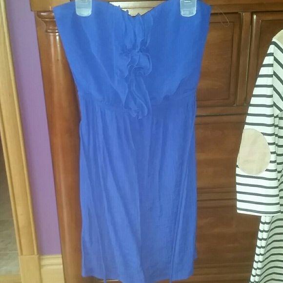 Blue Beach Dress Super cute, super soft dark blue short dress worn once Belk Dresses Strapless