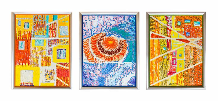 """""""Tension"""" (1, 2, 3). Triptych by Irena Lisiewicz. Original abstract painting for sale. Contemporary art. Medium: acrylic on canvas. Dimensions with frame: 27'' X 21''. #art, #painting  #walldecor, #acrylic, #decorativeart, #artwork, #modern, #original, #contemporaryart, #walldesign, #handmade, #abstract, #fineart, #gift, #forms, #collections, #multi color, #handmad, #visualart, #colorful, #IrenaLisiewicz"""