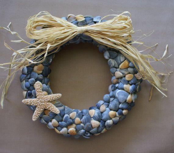 "Fall wreath, 11"" blue seashell wreath , nautical, coastal decor, beach wreath Christmas wreath sea shells"