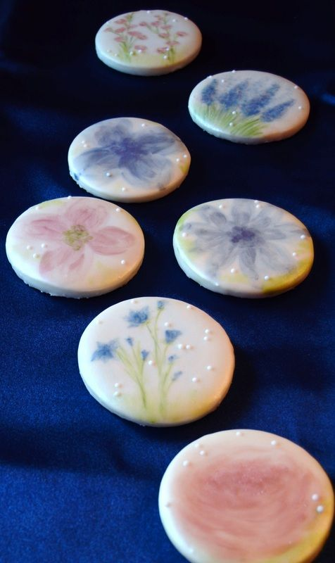 Array of cocoa butter hand painted cookies