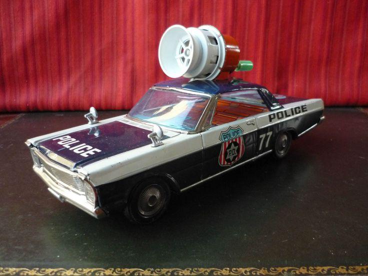 1960's Modern Toys Masudaya Tin Friction Ford Galaxie Police Patrol w Real Siren #Masudaya
