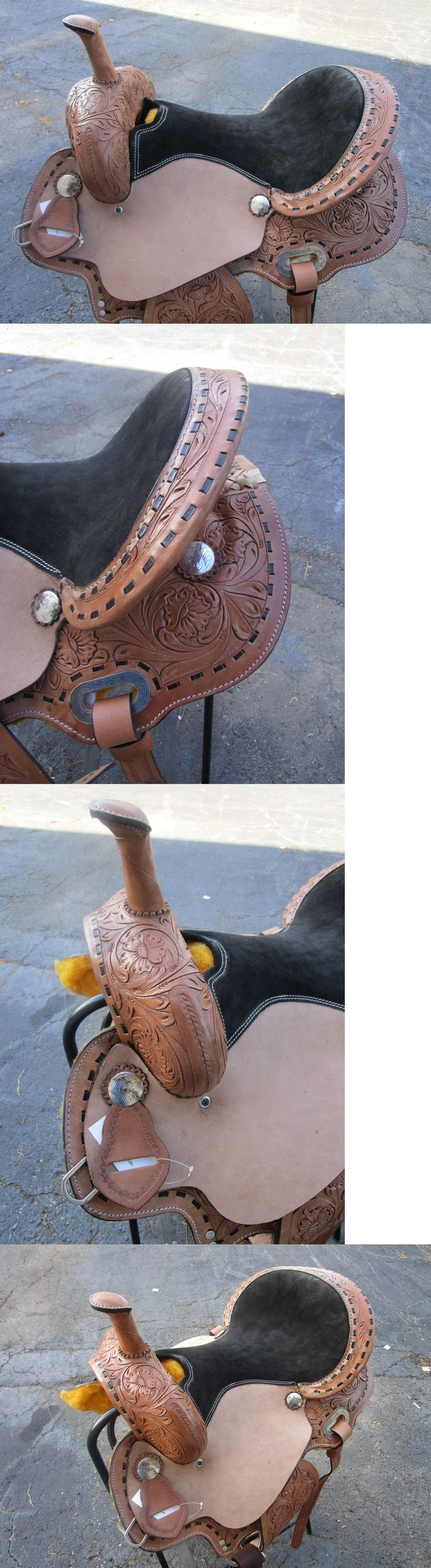 Saddles 47291: 16 Barrel Racing Show Buckstitch Pleasure Tooled Leather Western Horse Saddle BUY IT NOW ONLY: $278.99