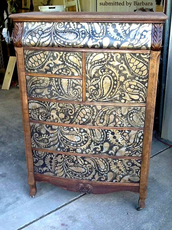 Cutting Edge Stencils - Paisley Allover Stenciled Dresser