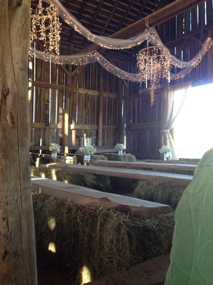 Fall barn wedding - lights and bales