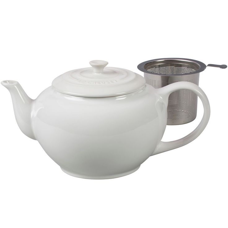 Le Creuset Unisex Large Teapot with Stainless Steel Infuser - 1 qt. White Tea Pot