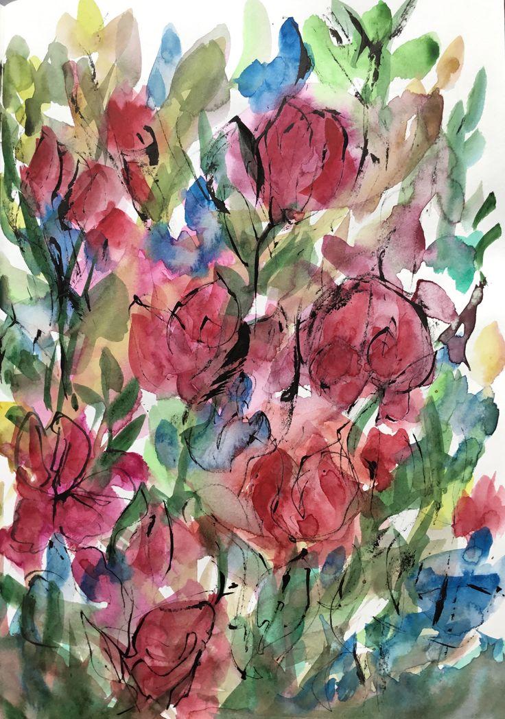 Sirkkaliisa Virtanen: Rosegarden, watercolor