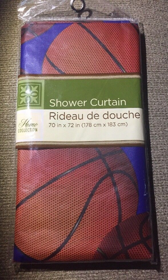 Basketball Sports Theme Shower Curtain Boys Girls Bathroom
