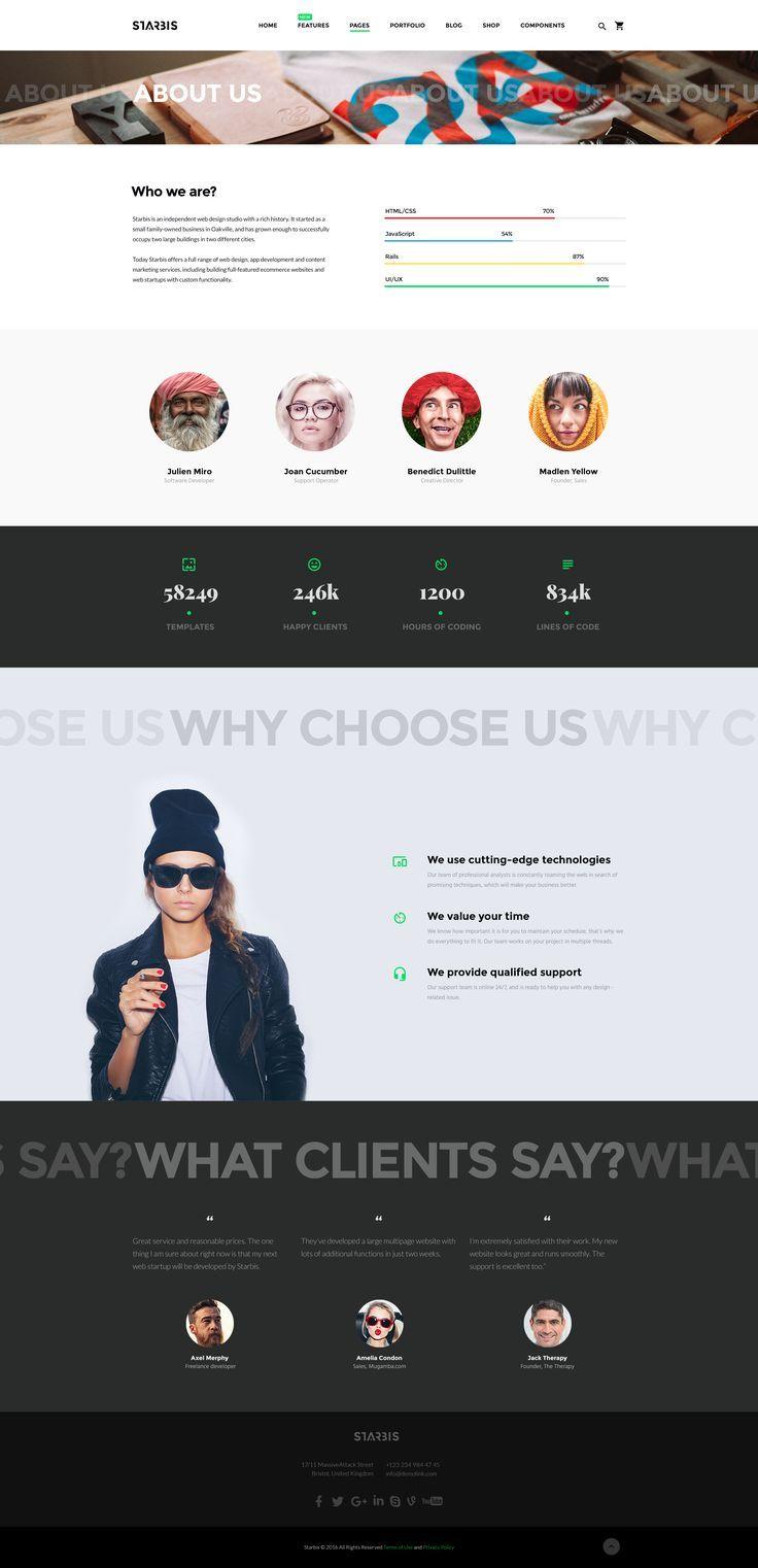 Upcoming Starbis Multipurpose HTML5 Template: Get It for a Special Price http://www.templatemonster.com/website-templates/starbis.html?utm_source=pinterest&utm_medium=tm&utm_campaign=starbispre #ui #ux #aboutpage