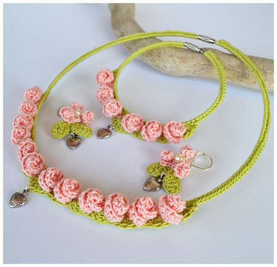 Cute street casual pink and spring green crochet jewelry set. It consists of a necklace,bracelet and earrings. I added heart charms and for the