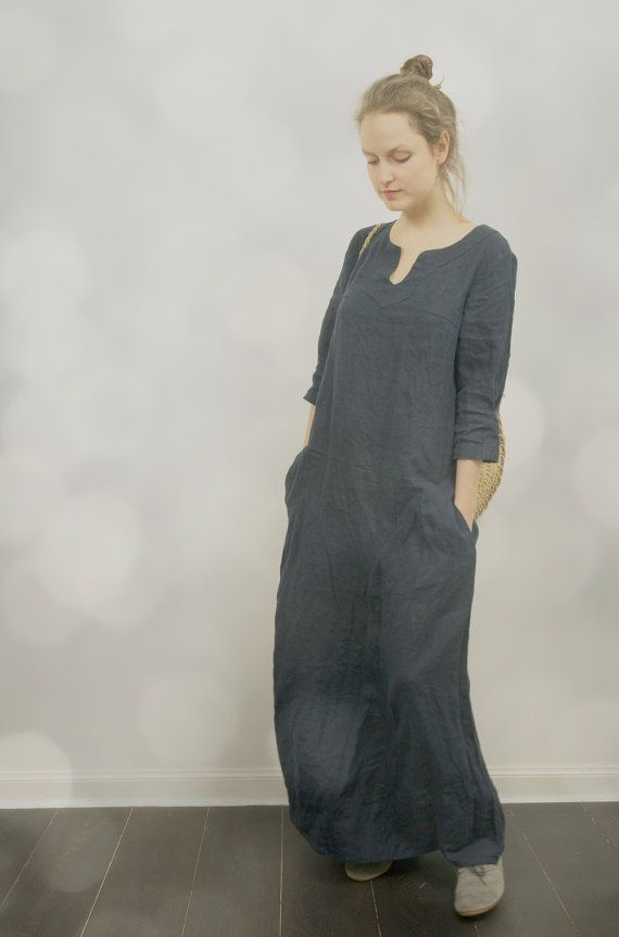Long Linen Dress in Navy Blue by KnockKnockLinen on Etsy, £110.00