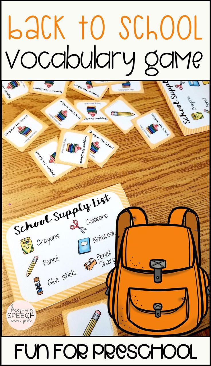 Back to school, preschool vocabulary game
