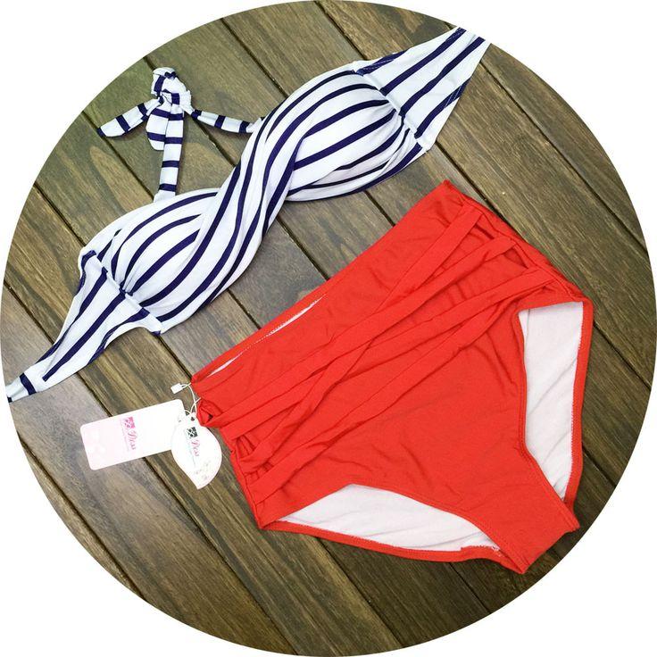 Sexy high waist striped bikini