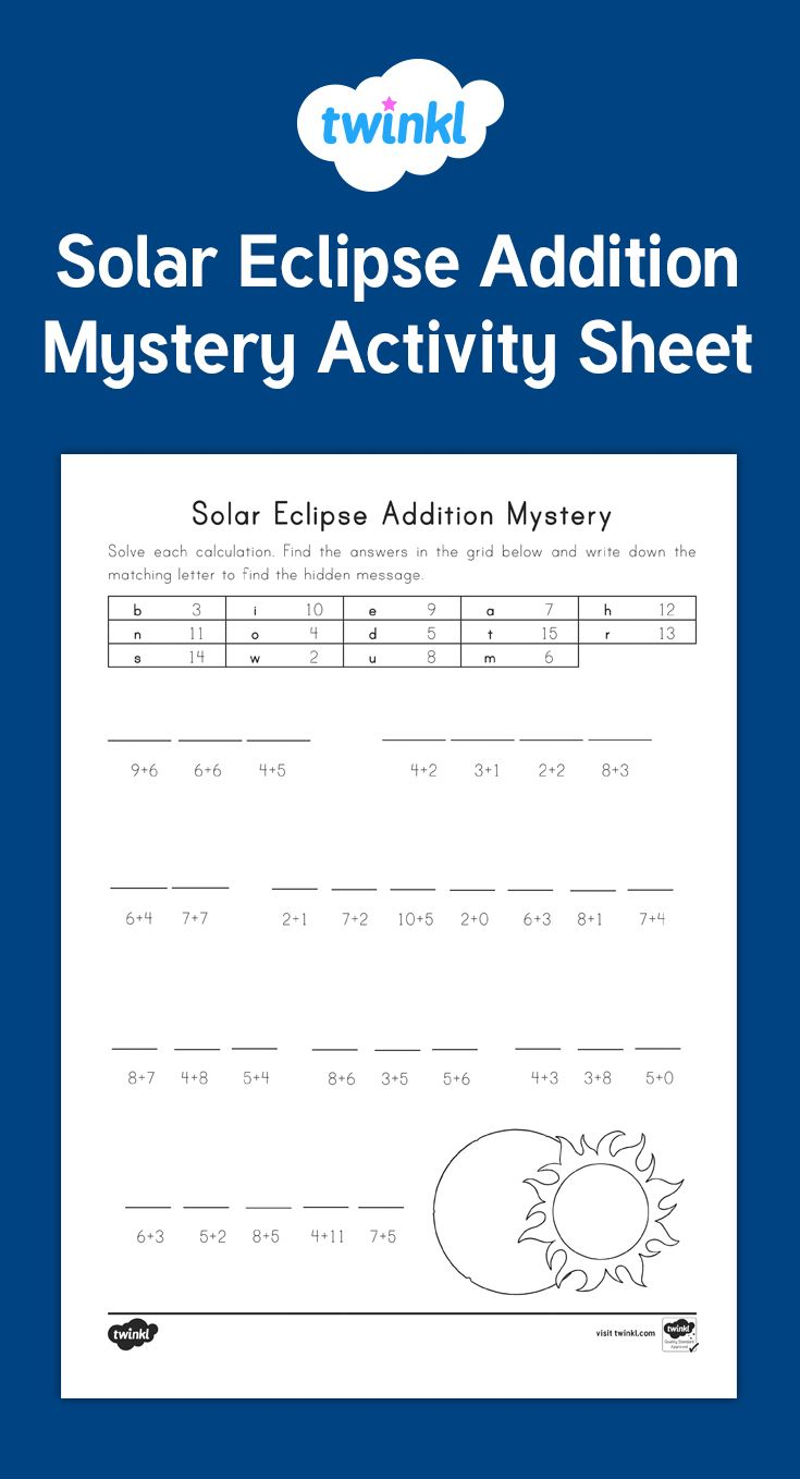 A fun Solar Eclipse Math Mystery that students solve using addition and a code - Twinkl