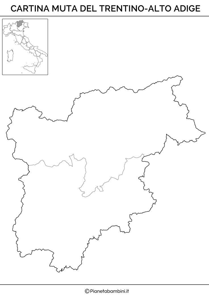 La cartina muta del Trentino-Alto Adige da stampare