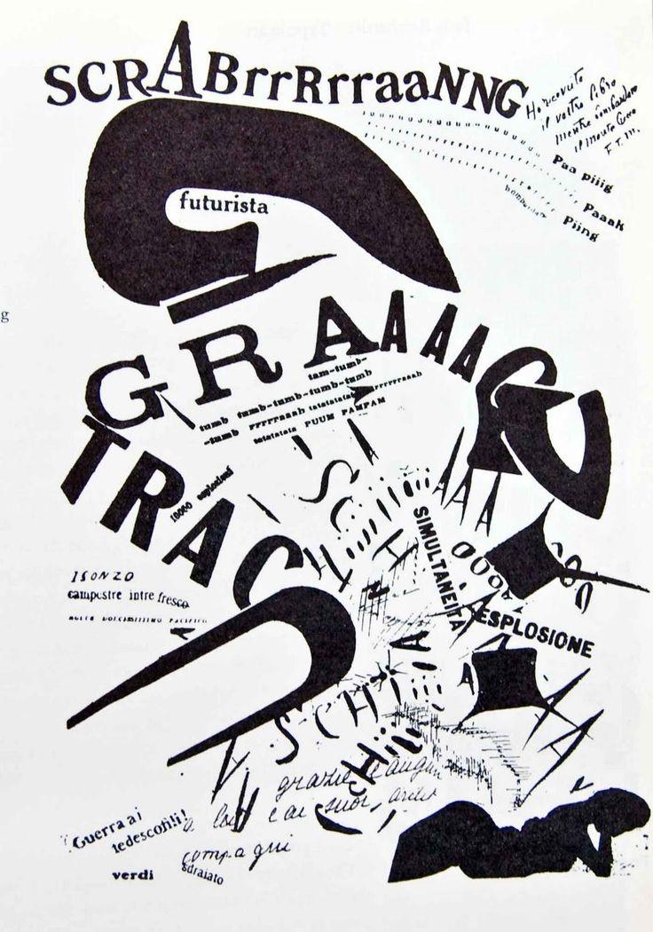 """Cartaz de Marinetti """"les mots en liberté futuristes"""" - Marinetti inovou com a sua manipulação tipográfica levando a uma desconstrução das regras canónicas da tipografia"""